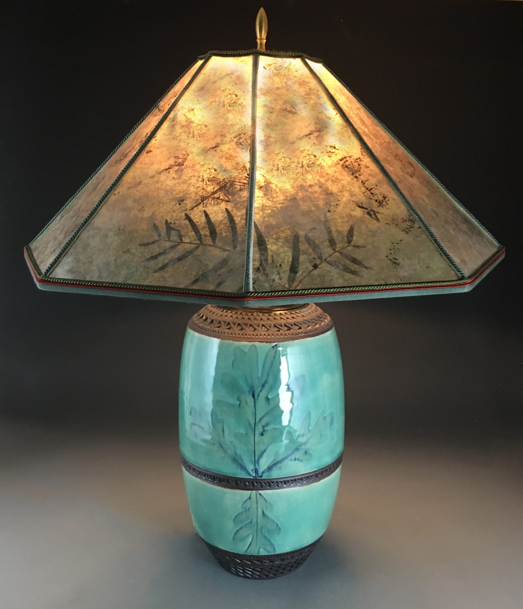 Mission Oak Lamp With Octagonal Mica Shade