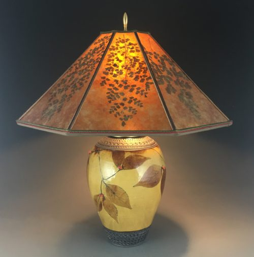 DOGWOOD LAMP IN AMBER WITH OCTAGON MICA SHADE